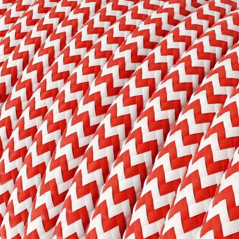 Textilkabel 3x0.75mm / Weiss-Rot zickzack