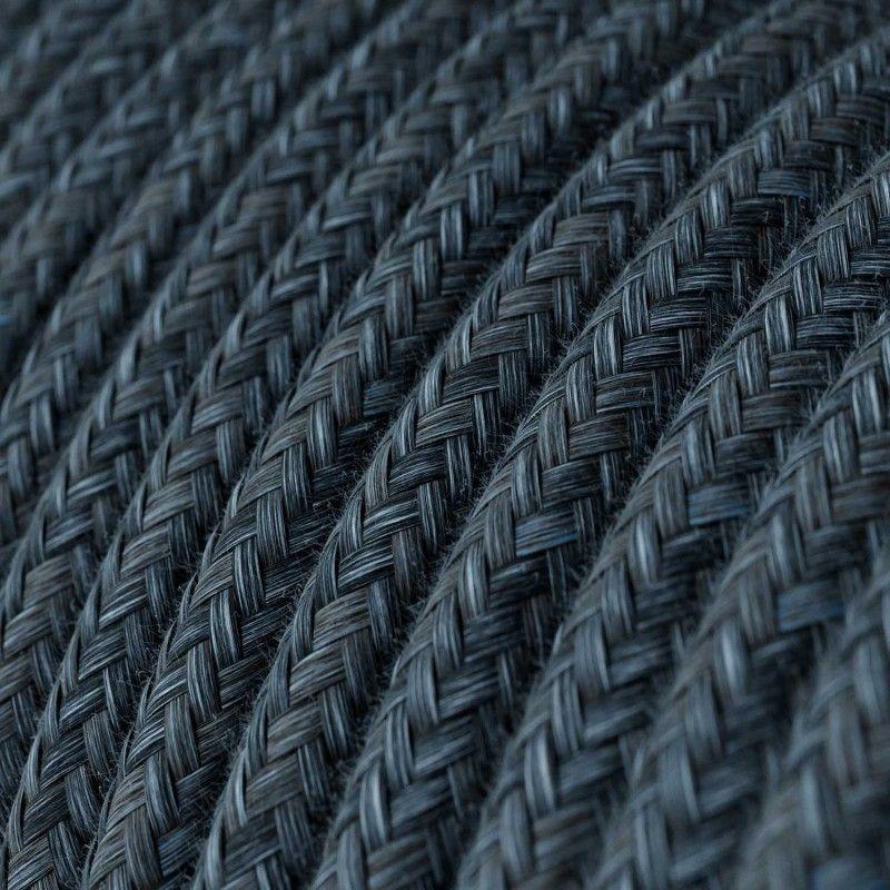 Textilkabel Naturgewebe 2x0.75mm / Mirage Blau in Seideneffekt