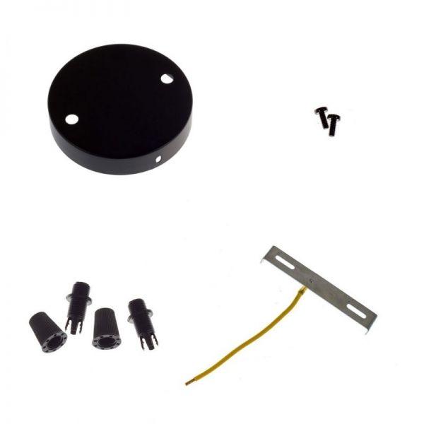 6 Loch Metall Baldachin Kit / Mattschwarz / Zugentlastung Kunststoff