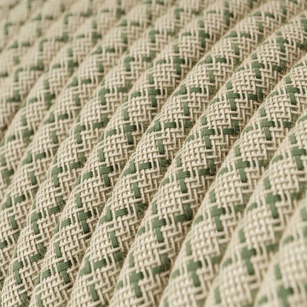 Textilkabel Naturgewebe 2x0.75mm / Leinen Netzstruktur Thymiangrün